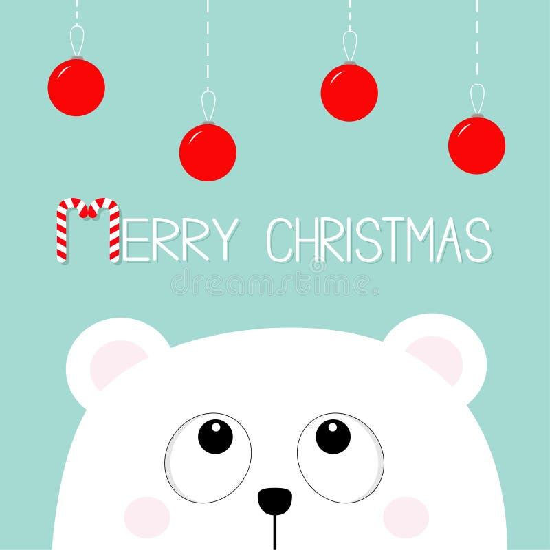 快活棒棒糖的圣诞节 查寻对垂悬的极性白色矮小的小小熊头面孔围绕玩具 大眼睛 逗人喜爱的动画片b 向量例证
