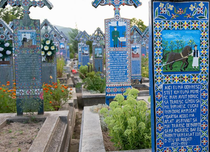 快活的公墓在Sapanta, Maramures 库存图片