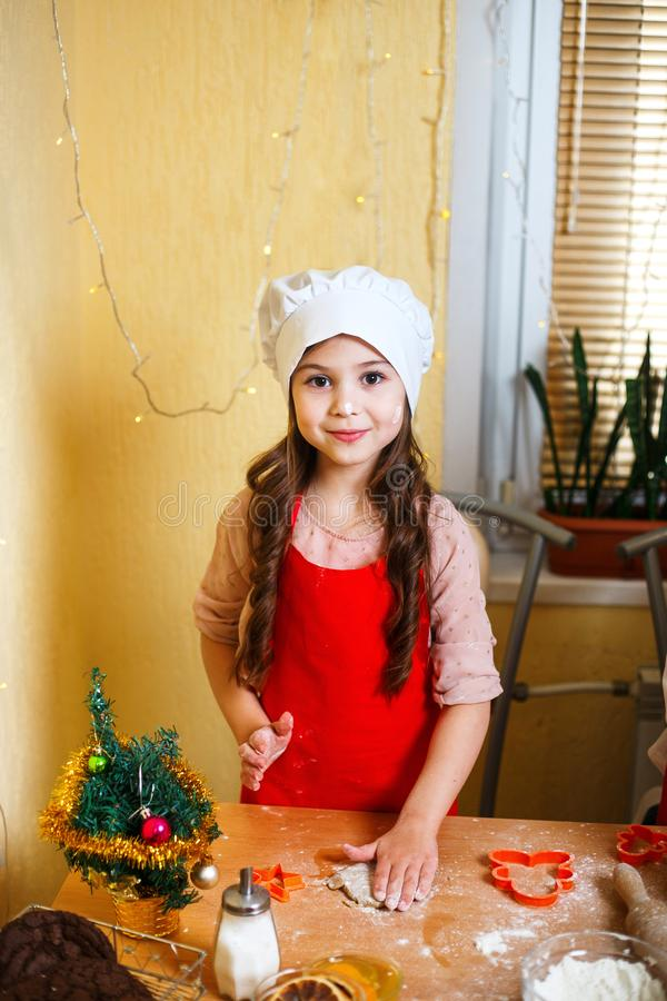 快活的圣诞节节日快乐 烹调圣诞节曲奇饼的母亲和女儿 库存图片