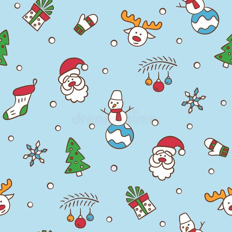 快活的圣诞节 与圣诞老人项目、圣诞树、驯鹿、雪人、礼物,雪花和其他的无缝的样式 向量 皇族释放例证