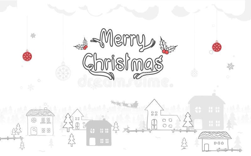 快活的圣诞节 冬天雪乡下风景 乱画样式 皇族释放例证