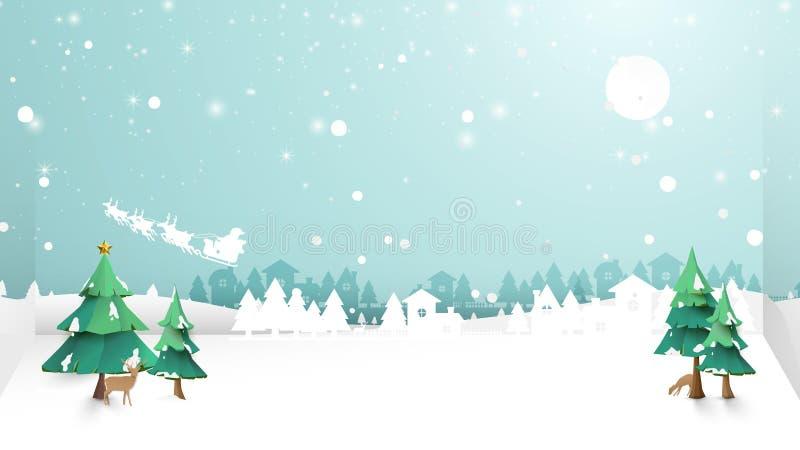 快活的圣诞节 冬天雪乡下风景 纸和工艺艺术 库存例证