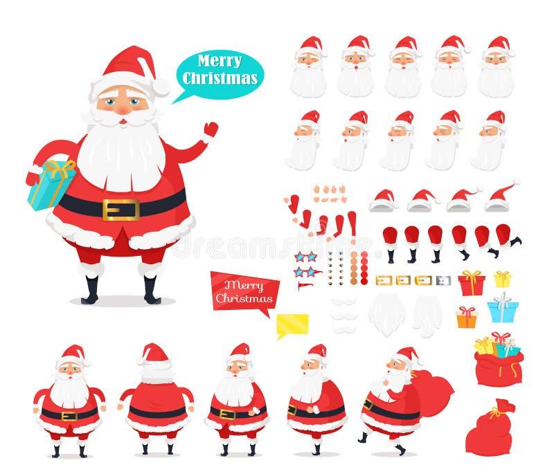 快活的圣诞节 圣诞老人象的汇集 向量例证