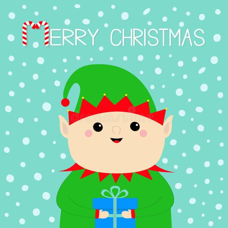 圣诞老人项目矮子面孔藏品礼物盒 绿色帽子 新年好 逗人喜爱的动画片图片