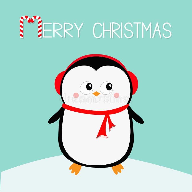 快活的圣诞节 在随风飘飞的雪的企鹅 红色耳机帽子 新年好 逗人喜爱的动画片kawaii婴孩字符 北极动物 平面 向量例证