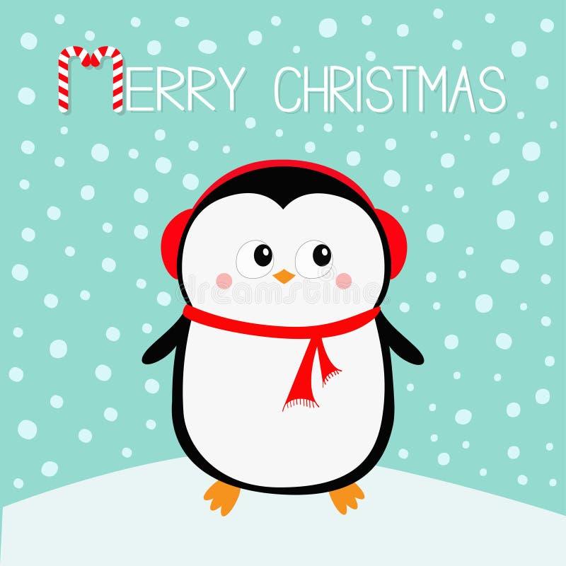 快活的圣诞节 在随风飘飞的雪的企鹅 红色耳机帽子 新年好 逗人喜爱的动画片kawaii婴孩字符 北极动物 平面 库存例证