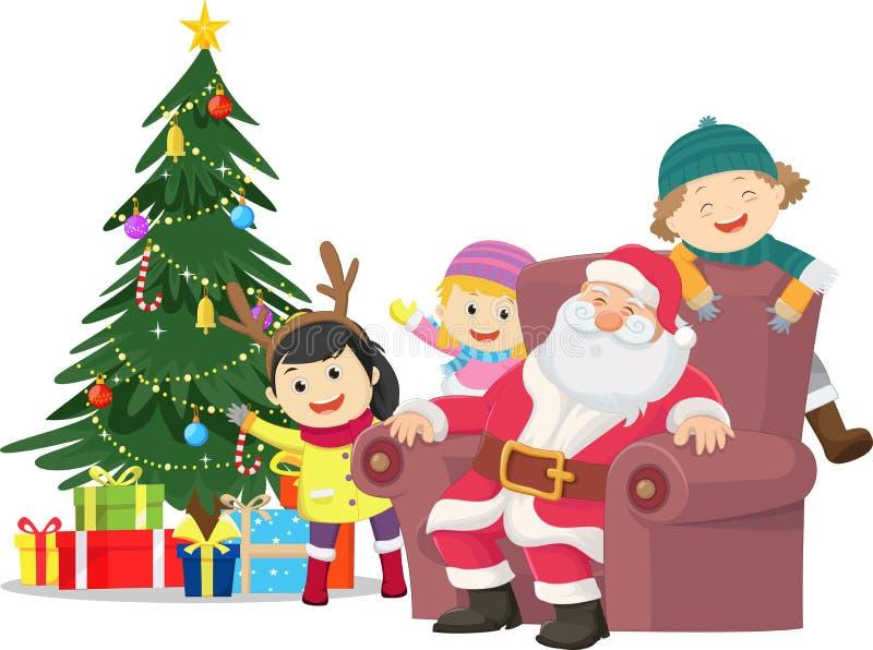 快活的圣诞节 愉快的孩子的例证与圣诞老人的 库存例证