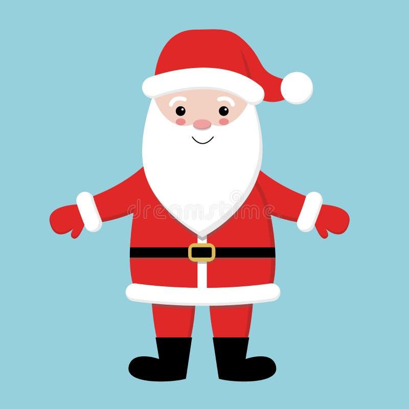 快活的圣诞节 戴红色帽子,服装,大胡子的圣诞老人 逗人喜爱的动画片kawaii滑稽的字符用开放手 库存例证