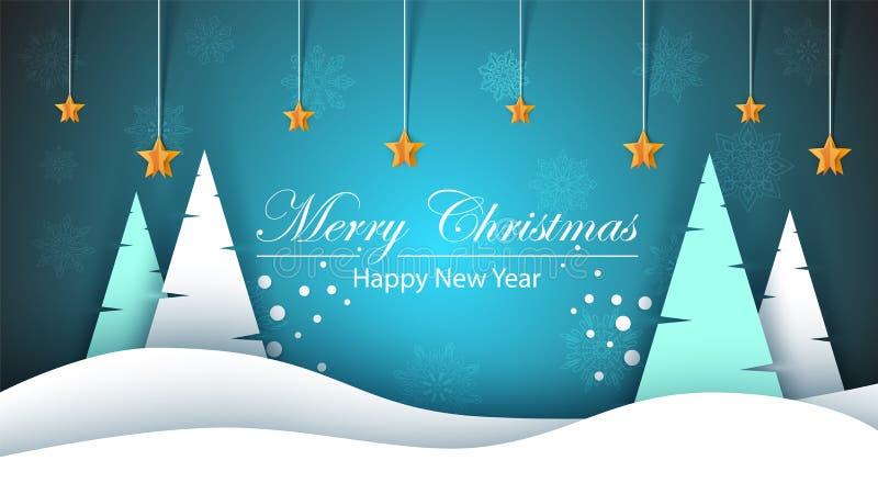 快活的圣诞节 新年好,冬天风景 冷杉,星,雪 向量例证