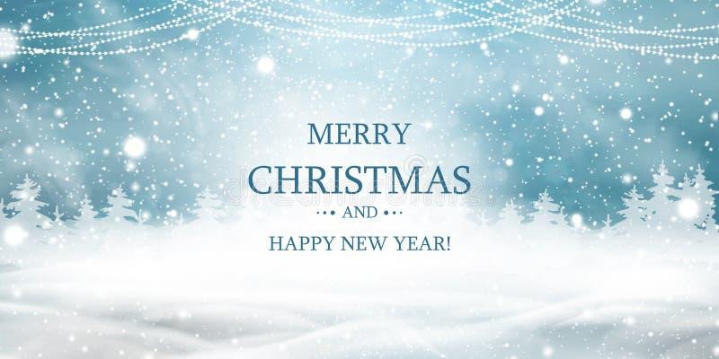 快活的圣诞节 新年好 与天空蔚蓝,大雪,雪的自然冬天圣诞节背景,多雪 向量例证