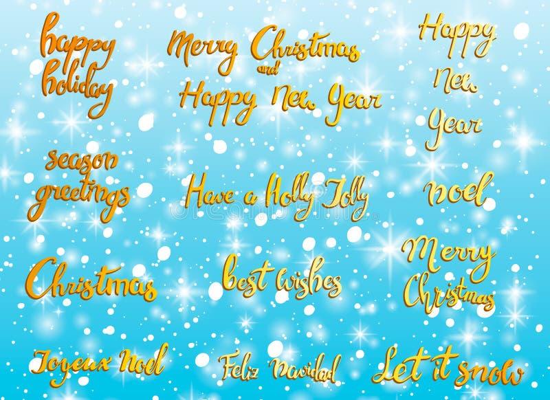 快活的圣诞节 新年快乐, 2018年贺卡 印刷术与手拉的文本和设计装饰的xmas集合 皇族释放例证