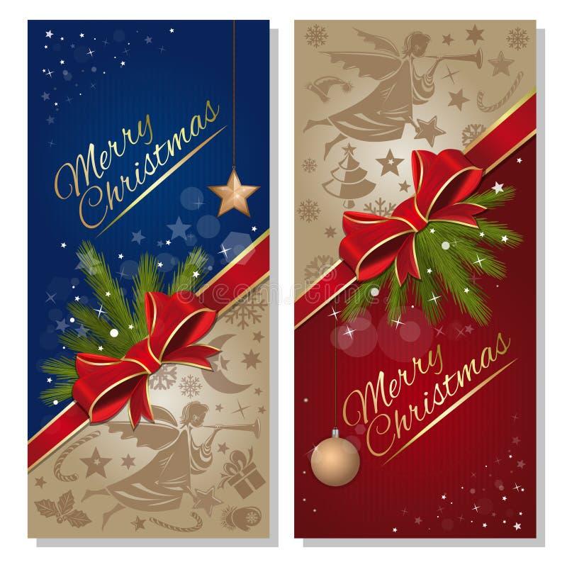 快活的圣诞节 欢乐红色和蓝色卡集 库存例证