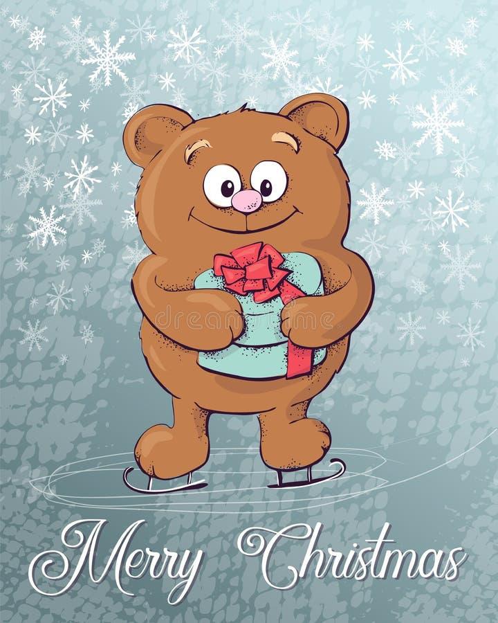 快活的圣诞节 熊冰极性冰鞋 例证 库存例证