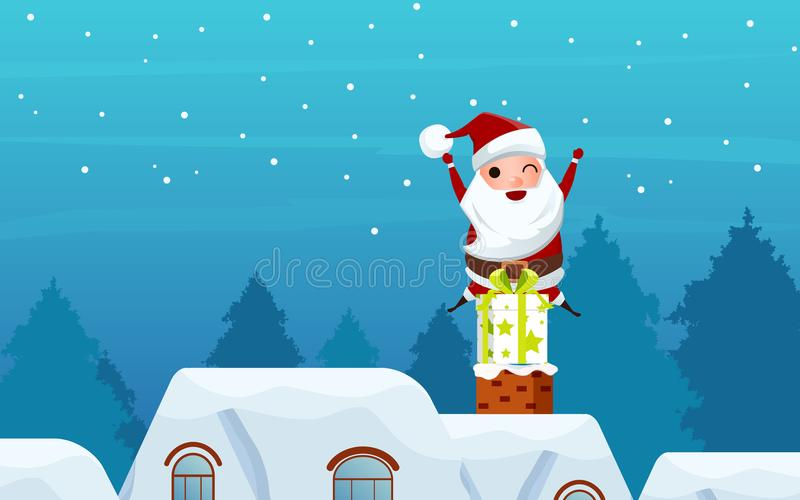 快活的圣诞节 礼物盒的圣诞老人在屋顶的烟囱 圣诞节和新年好横幅 库存例证