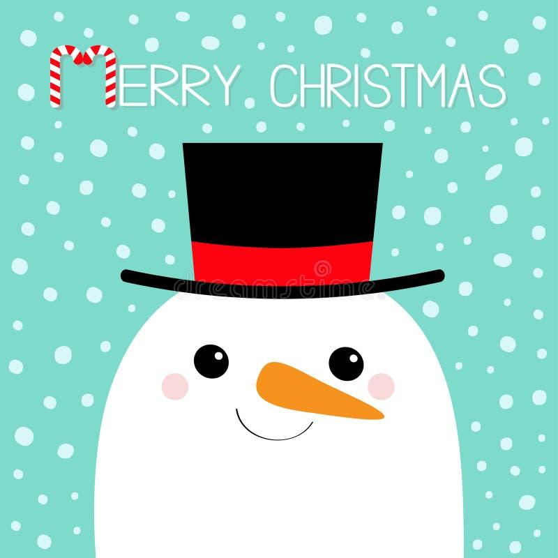 快活的圣诞节 雪人面孔头 红萝卜鼻子,黑帽会议 逗人喜爱的动画片滑稽的kawaii字符 蓝色冬天雪背景 库存例证