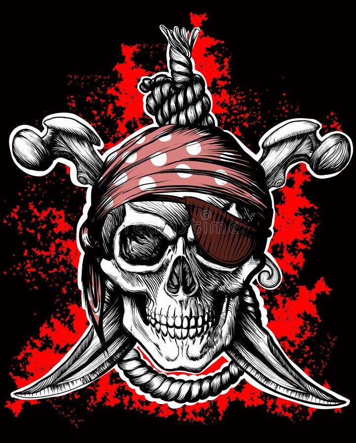 快活的海盗罗杰符号 库存例证