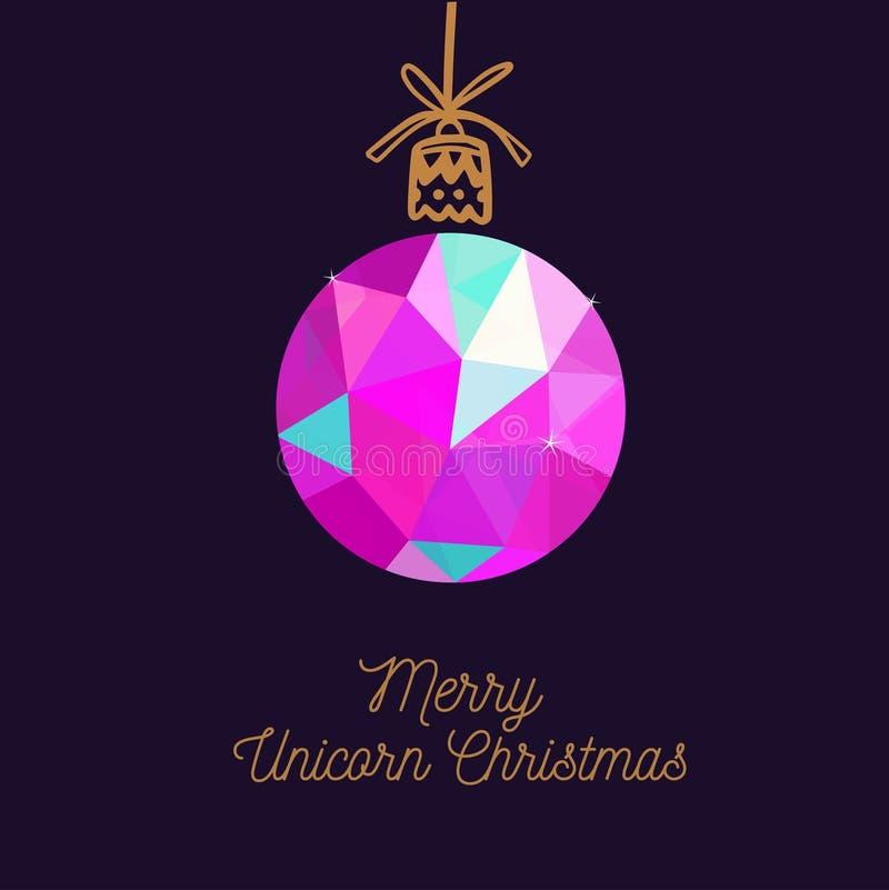 快活的独角兽圣诞节传染媒介卡片 圣诞节新年度 库存例证