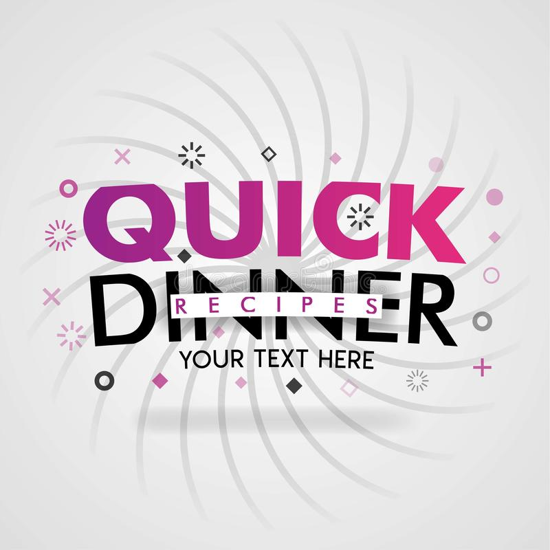 快的晚餐食谱用容易的便宜的食物和意大利食谱 库存例证