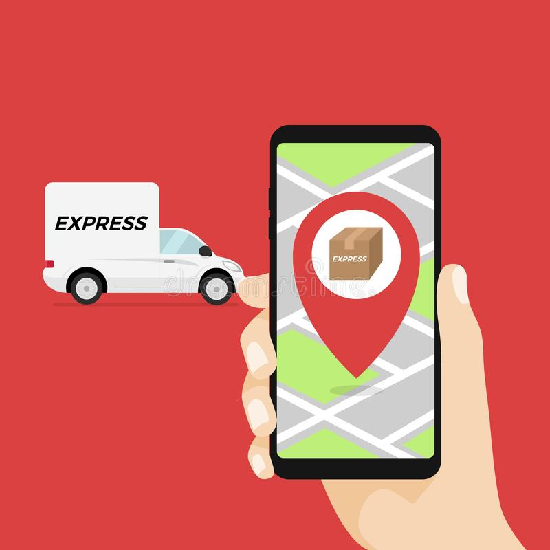 快递概念 在手机的送货业务app在手中 送货卡车和手机有城市背景 向量例证