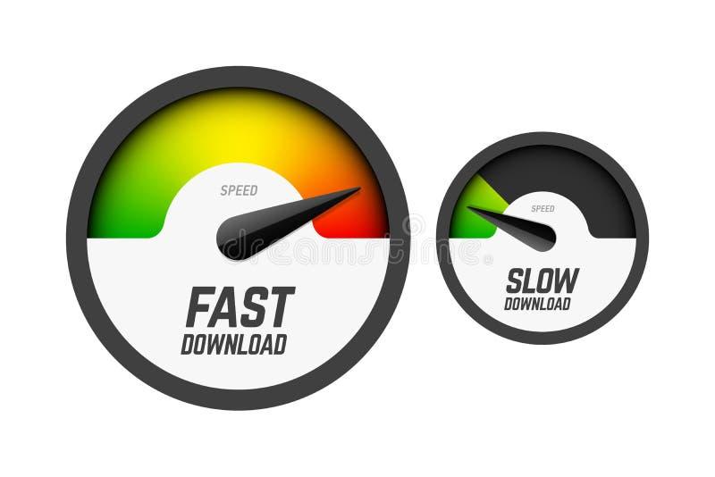 快速和慢车速表 库存例证