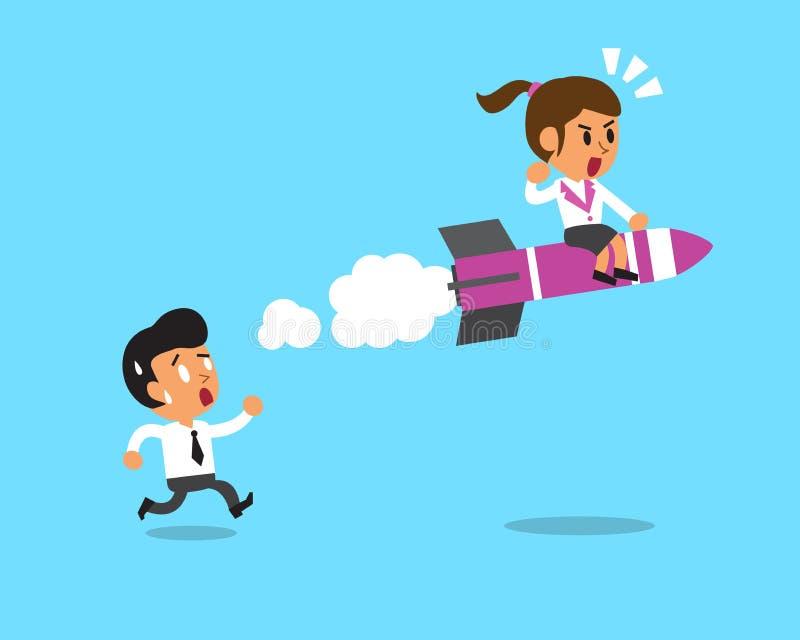 快速地女实业家移动比商人 向量例证