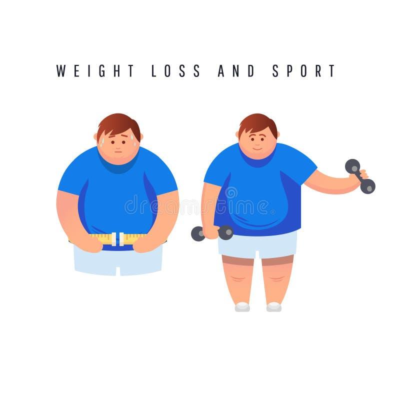 快速地跑在踏车的肥胖人字符 传染媒介平的动画片例证 库存例证