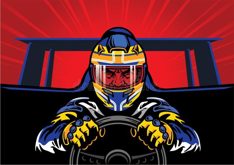 快速地驾驶汽车的竟赛者 向量例证