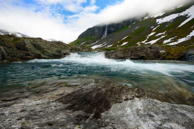 快速河在挪威 图库摄影