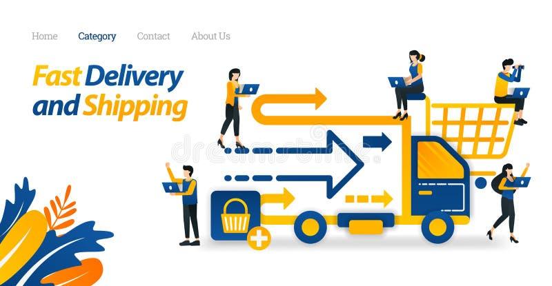 快速的交付和从网络商店或电子商务提供的海运服务 传染媒介例证,平的象样式适当的网 库存例证