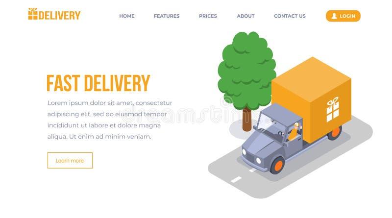 快速的交付等量登陆的页传染媒介模板 有礼物盒象征网站布局的运输的搬运车 服务工作者 皇族释放例证