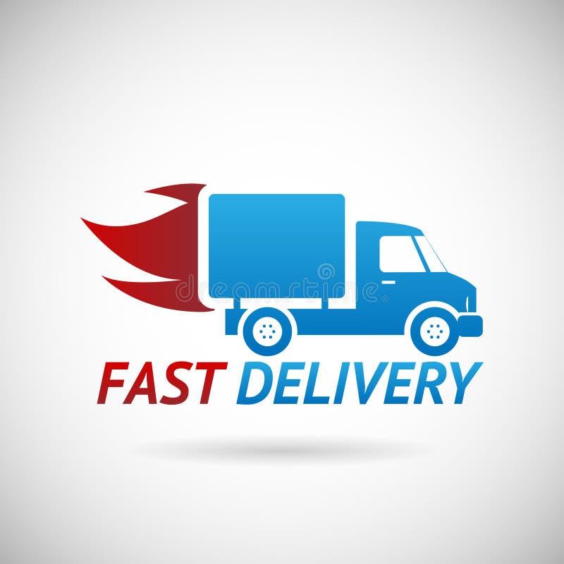 快速的交付标志运输卡车剪影 库存例证