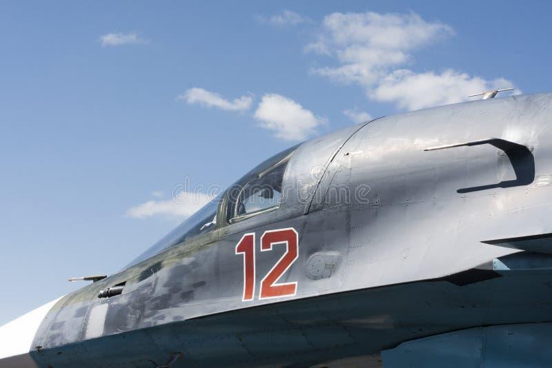 快速的喷气机关闭与天空 免版税库存图片