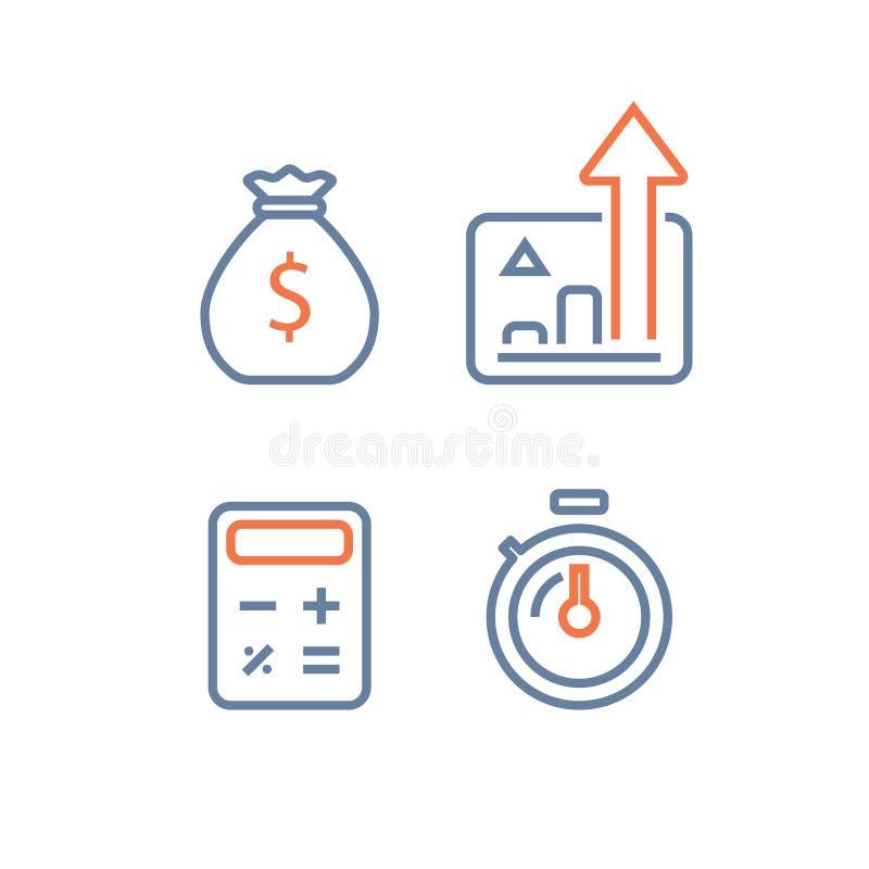 快速的收入成长,长期投资的战略,财政业绩报告,收支增量,利息图,基金 向量例证