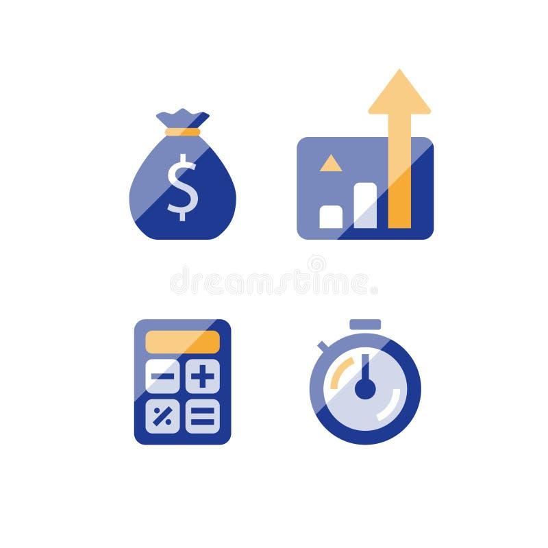 快速的收入成长,长期投资的战略,财政业绩报告,收支增量,利息图,基金 库存例证