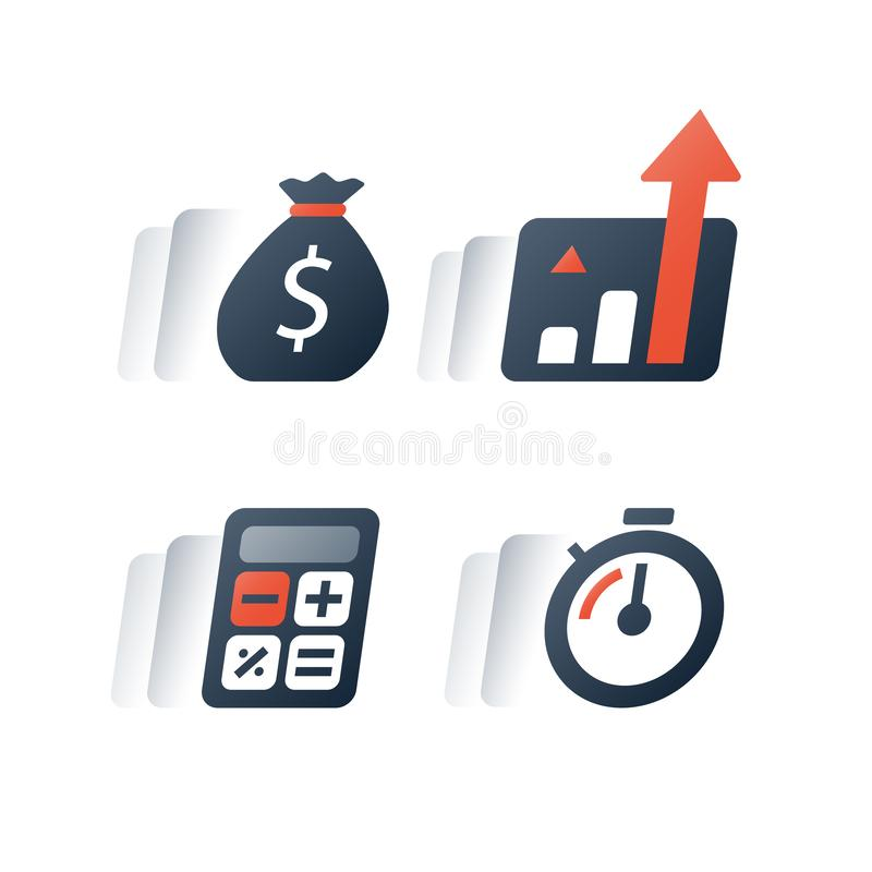 快速的收入成长,长期投资的战略,财政业绩报告,收支增量,利息图,基金 皇族释放例证