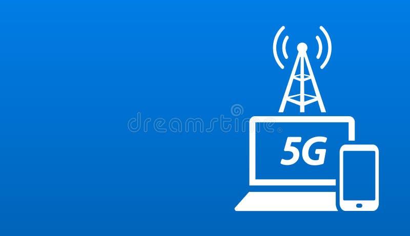 快速的无线上网5G网网络连接布局 皇族释放例证