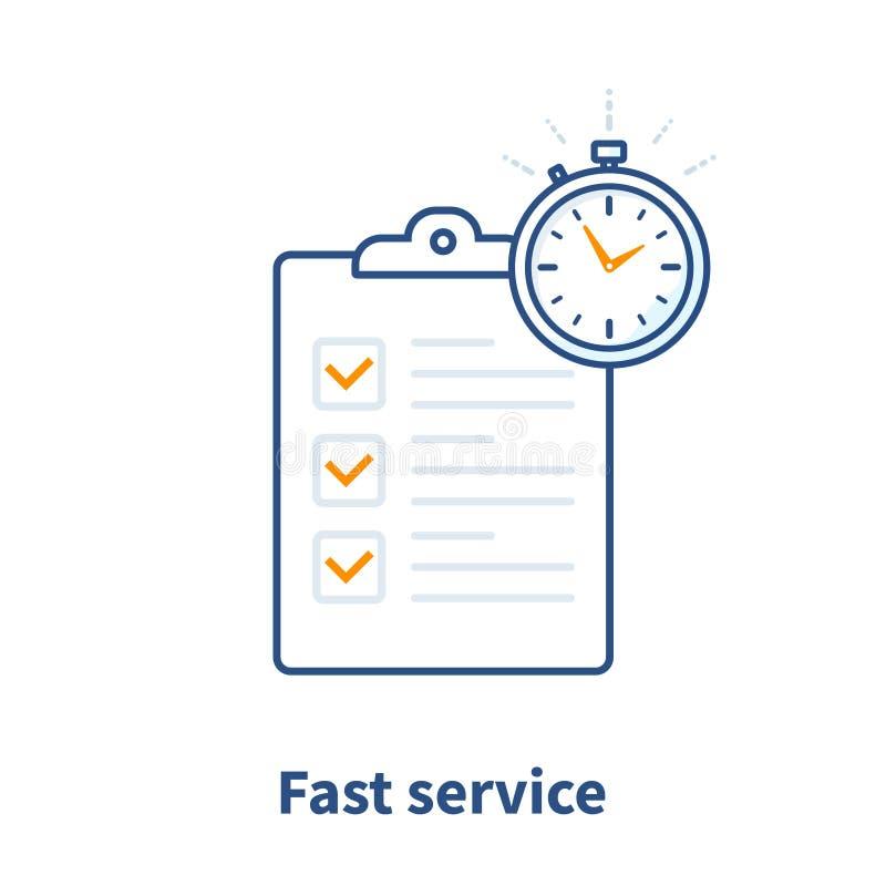 快速的服务,简单溶体,项目管理,改善清单,勘测剪贴板,注册概念,期限 库存例证