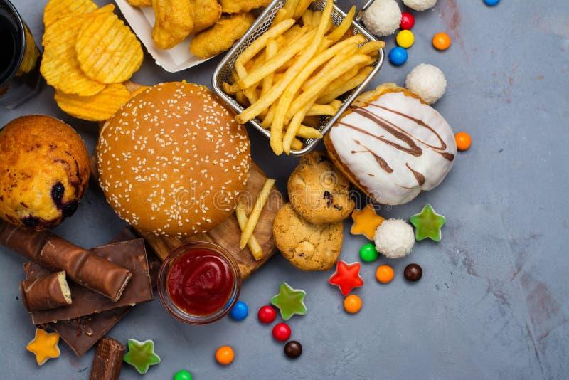 快速的碳水化合物食物 免版税库存图片