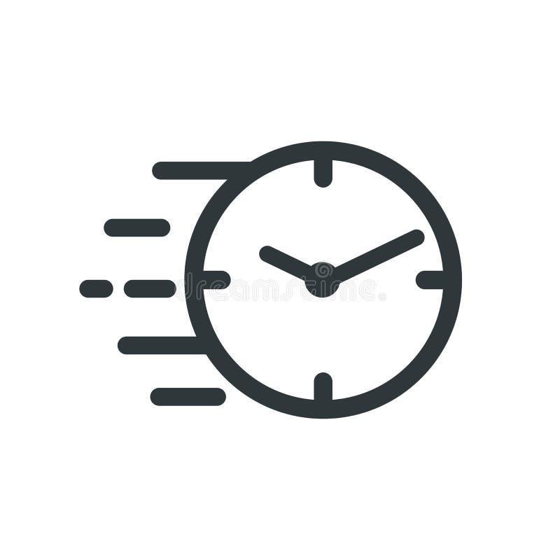 快速的秒表线象 短时间标志 速度时钟标志紧急,最后期限,时间管理,竞争标志 向量例证