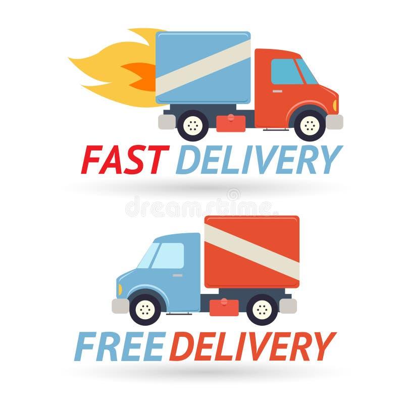 快速的自由交付标志运输卡车象 向量例证