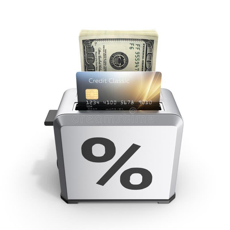 快速的贷款的现代概念和付款信用卡片和堆金钱美国人在多士炉的一百元钞票画 库存例证