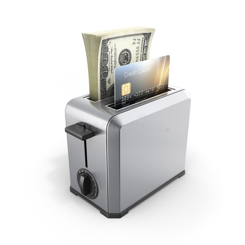 快速的贷款的现代概念和付款信用卡片和堆金钱美国人在被隔绝的多士炉的一百元钞票  向量例证