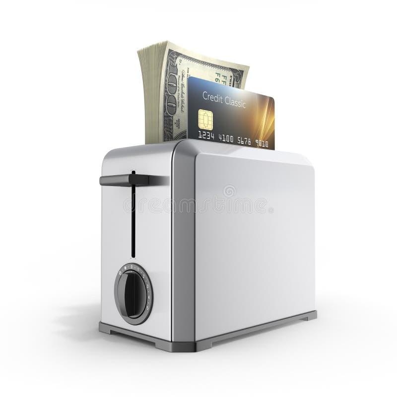快速的贷款的现代概念和付款信用卡片和堆金钱美国人在被隔绝的多士炉的一百元钞票  皇族释放例证