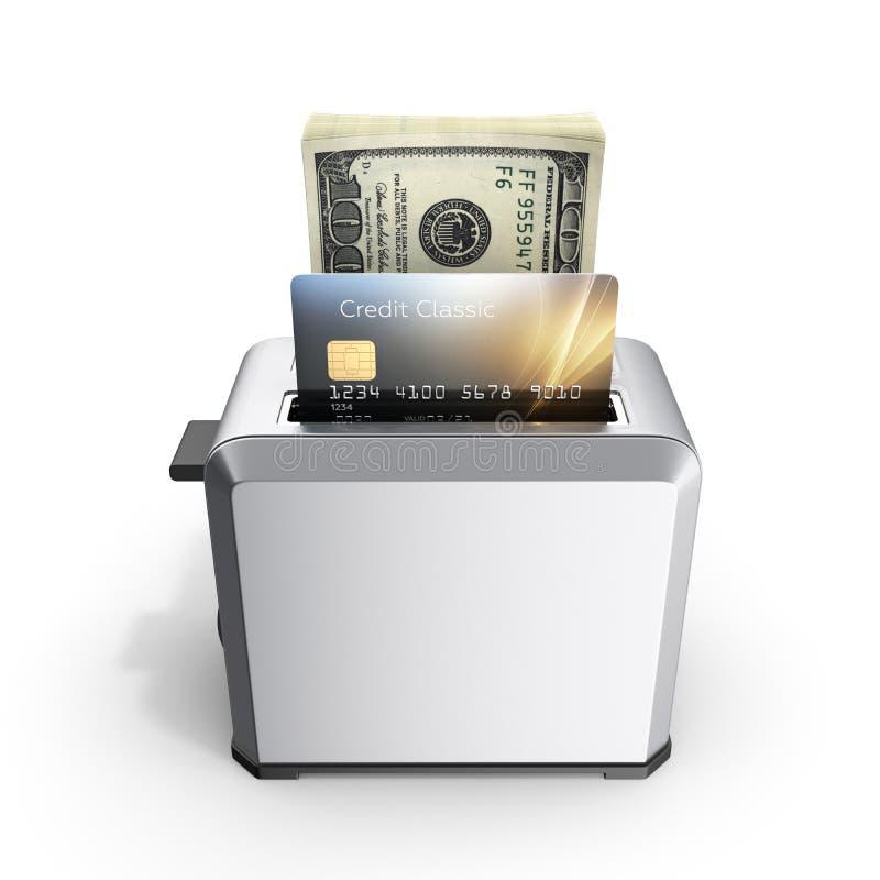 快速的贷款的现代概念和付款信用卡片和堆金钱美国人在被隔绝的多士炉的一百元钞票  库存例证