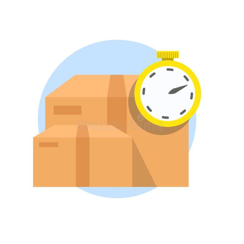 快速的送货业务运输 箱子和秒表,在白色背景隔绝的定时器 传染媒介平的象 库存例证