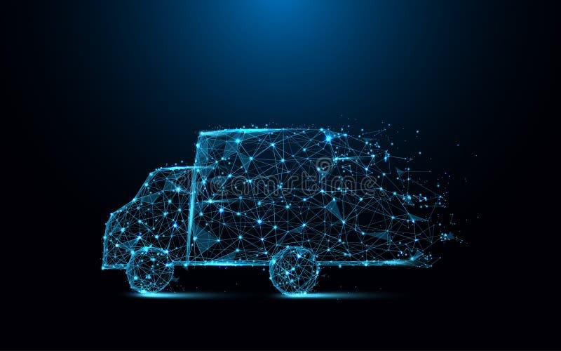 快速的送货卡车象形式线和三角,在蓝色背景的点连接的网络 库存例证