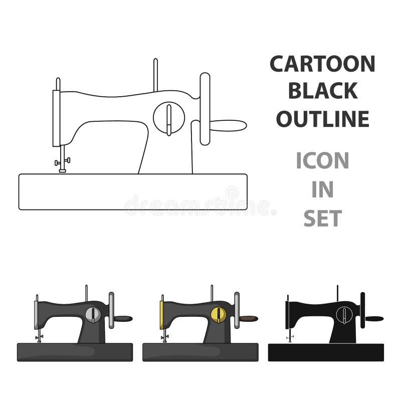 快速缝合的机器 缝合或剪裁在动画片的工具箱唯一象称呼传染媒介标志股票例证 库存例证