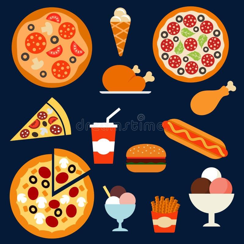 快餐、饮料和点心menuflat象 皇族释放例证