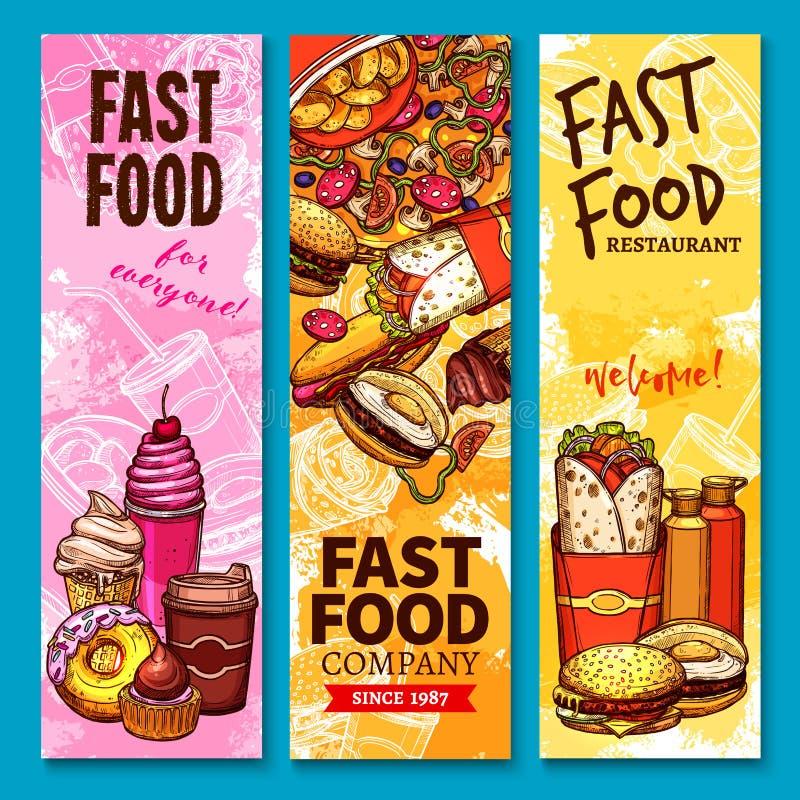 快餐传染媒介剪影欢迎或菜单横幅 库存例证