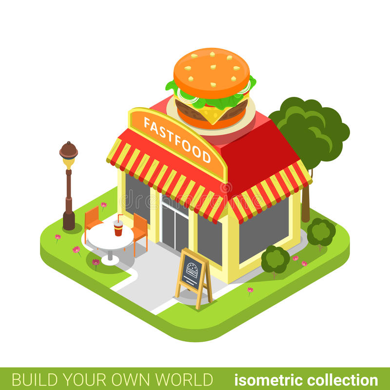 快餐吃饭的客人餐馆咖啡馆商店汉堡形状 皇族释放例证